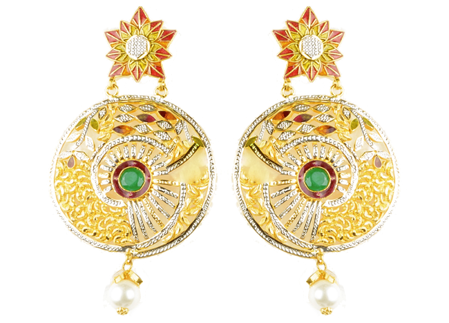 Antique Gold Danglers by Bawa Jewellers.